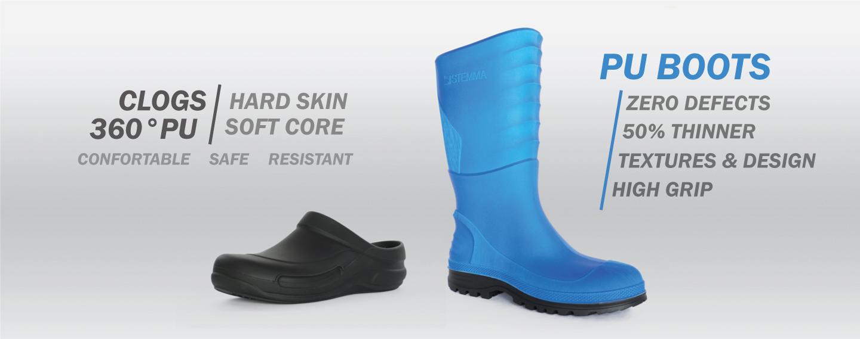 Polyurethane clog and boot  with RPU spray technology