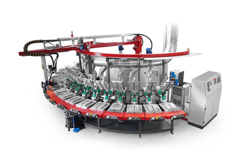 SAB - Máquina estática para la producción de plantillas y suelas en colada de poliuretano